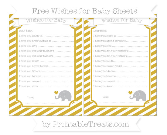 Free Metallic Gold Diagonal Striped Baby Elephant Wishes for Baby Sheets