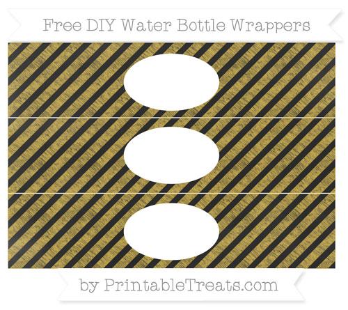 Free Metallic Gold Diagonal Striped Chalk Style DIY Water Bottle Wrappers