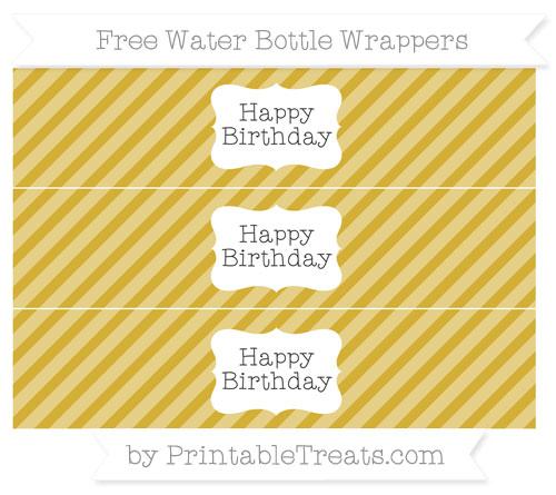 Free Metallic Gold Diagonal Striped Happy Birhtday Water Bottle Wrappers