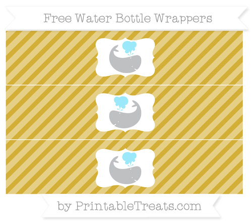 Free Metallic Gold Diagonal Striped Whale Water Bottle Wrappers