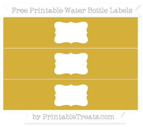 Free Metallic Gold Water Bottle Labels
