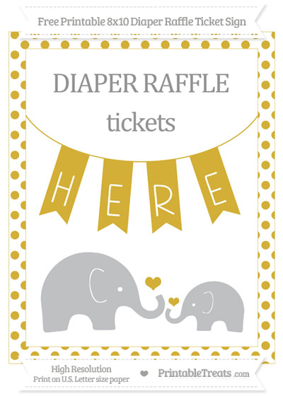 Free Metallic Gold Dotted Elephant 8x10 Diaper Raffle Ticket Sign