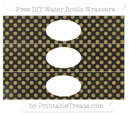 Free Metallic Gold Dotted Pattern Chalk Style DIY Water Bottle Wrappers