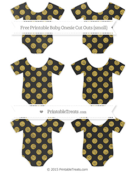 Free Metallic Gold Dotted Pattern Chalk Style Small Baby Onesie Cut Outs