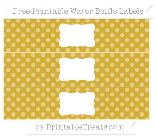 Free Metallic Gold Dotted Pattern Water Bottle Labels