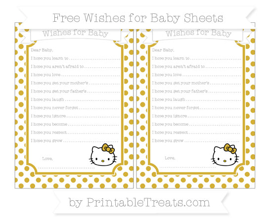 Free Metallic Gold Dotted Pattern Hello Kitty Wishes for Baby Sheets