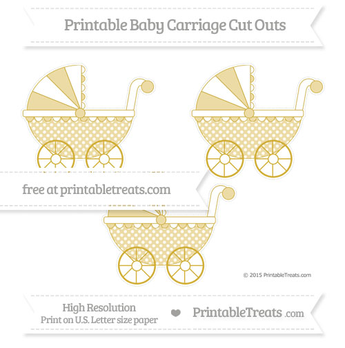 Free Metallic Gold Dotted Pattern Medium Baby Carriage Cut Outs