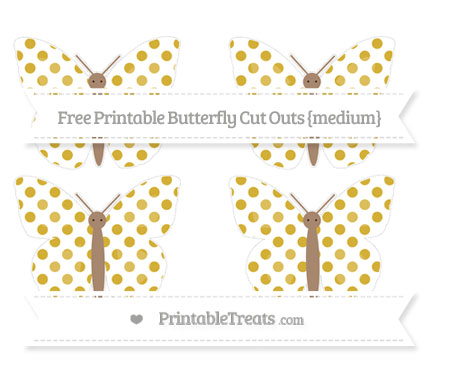 Free Metallic Gold Dotted Pattern Medium Butterfly Cut Outs