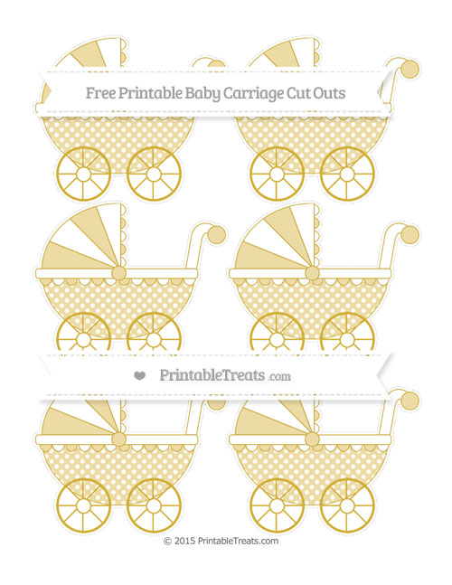 Free Metallic Gold Dotted Pattern Small Baby Carriage Cut Outs