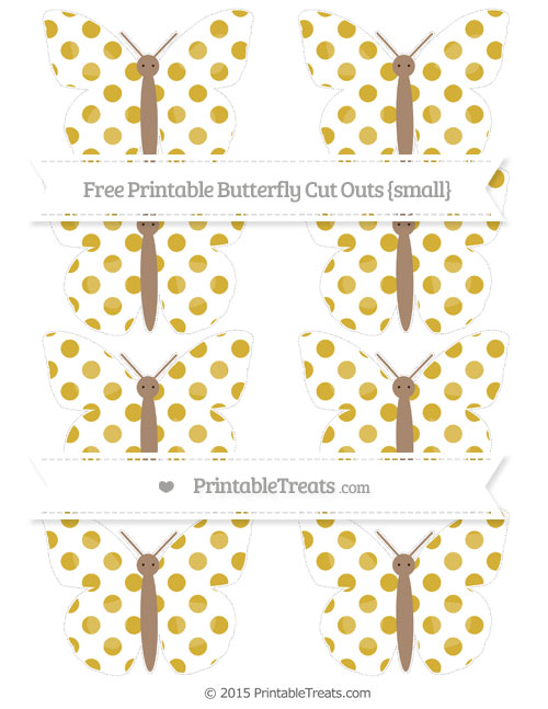Free Metallic Gold Dotted Pattern Small Butterfly Cut Outs