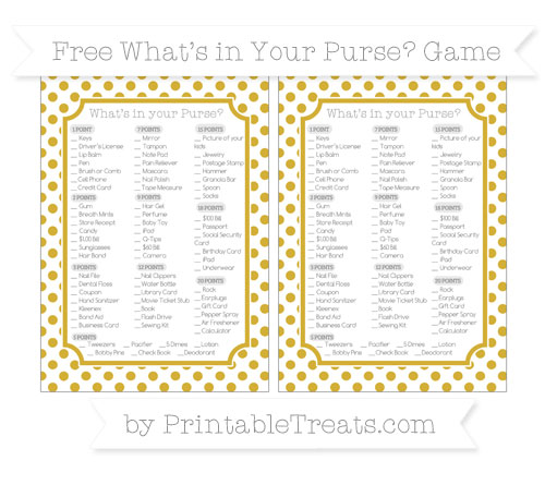 Free Metallic Gold Dotted Pattern What's in Your Purse Baby Shower Game