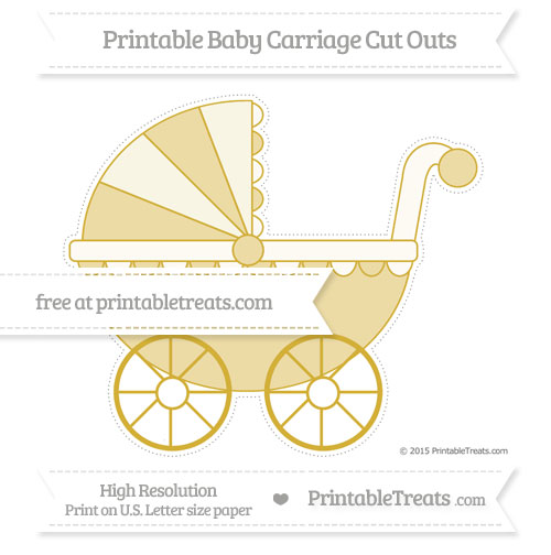 Free Metallic Gold Extra Large Baby Carriage Cut Outs