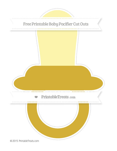 Free Metallic Gold Extra Large Baby Pacifier Cut Outs