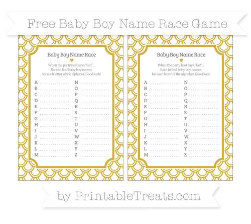Free Metallic Gold Fish Scale Pattern Baby Boy Name Race Game