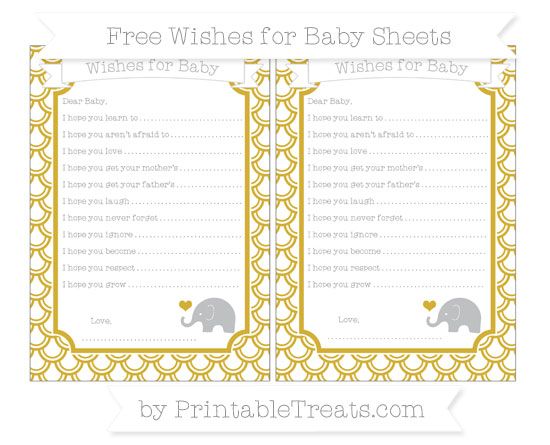 Free Metallic Gold Fish Scale Pattern Baby Elephant Wishes for Baby Sheets
