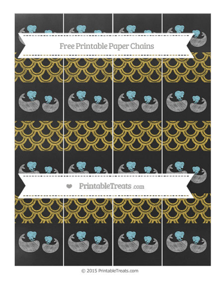 Free Metallic Gold Fish Scale Pattern Chalk Style Baby Whale Paper Chains