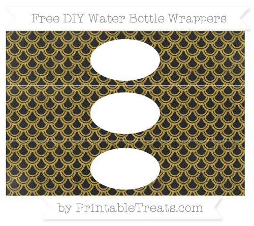 Free Metallic Gold Fish Scale Pattern Chalk Style DIY Water Bottle Wrappers