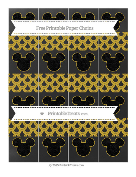 Free Metallic Gold Fish Scale Pattern Chalk Style Mickey Mouse Paper Chains