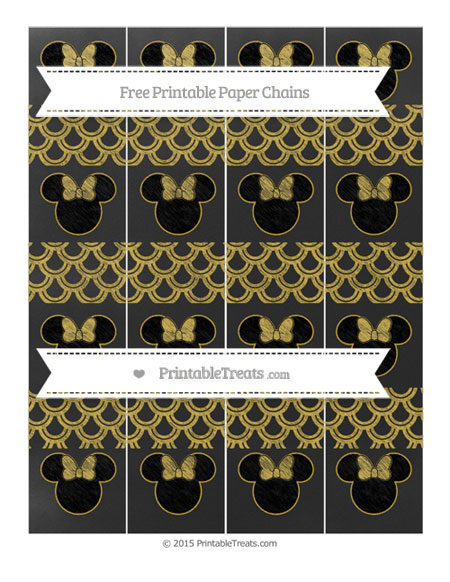 Free Metallic Gold Fish Scale Pattern Chalk Style Minnie Mouse Paper Chains