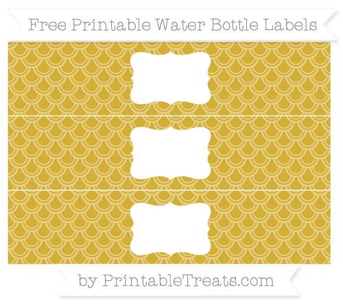 Free Metallic Gold Fish Scale Pattern Water Bottle Labels