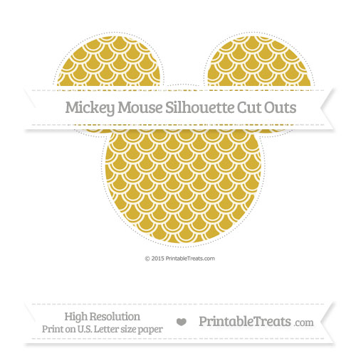 Free Metallic Gold Fish Scale Pattern Extra Large Mickey Mouse Silhouette Cut Outs