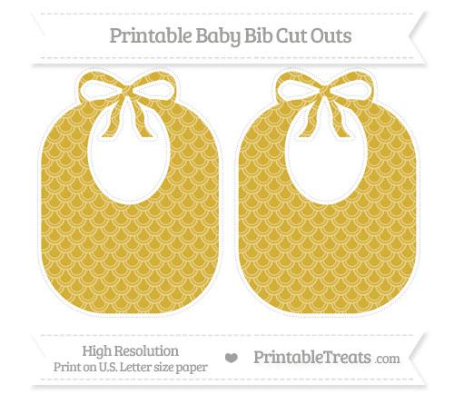 Free Metallic Gold Fish Scale Pattern Large Baby Bib Cut Outs