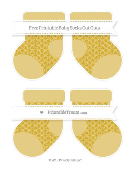 Free Metallic Gold Fish Scale Pattern Medium Baby Socks Cut Outs