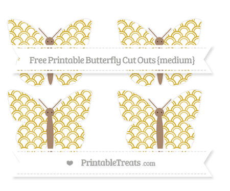 Free Metallic Gold Fish Scale Pattern Medium Butterfly Cut Outs