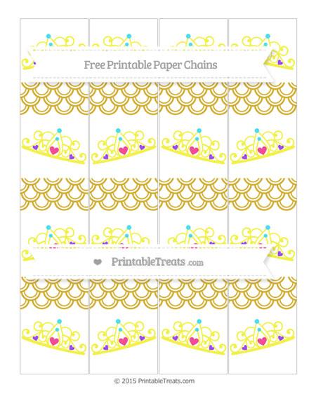Free Metallic Gold Fish Scale Pattern Princess Tiara Paper Chains