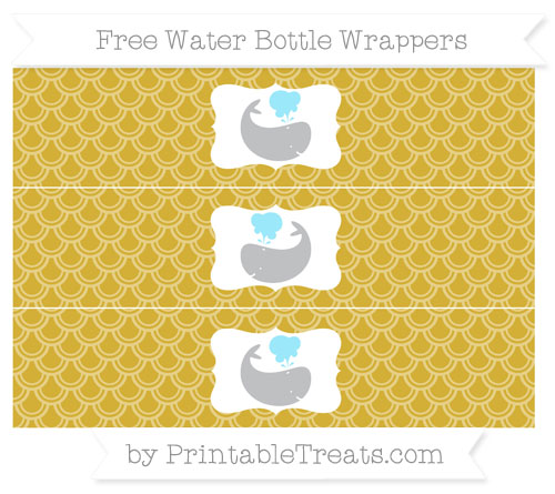 Free Metallic Gold Fish Scale Pattern Whale Water Bottle Wrappers