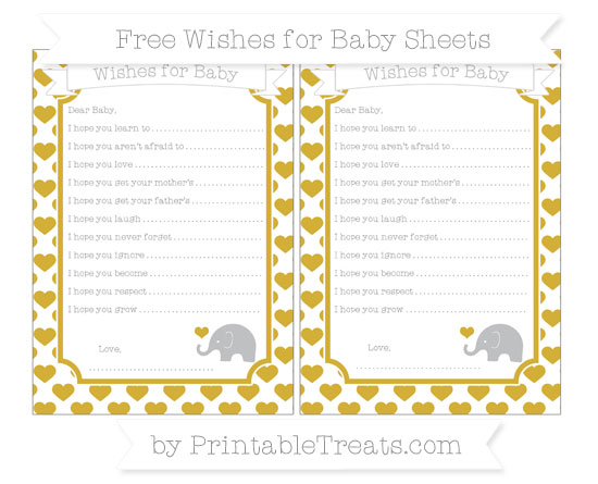 Free Metallic Gold Heart Pattern Baby Elephant Wishes for Baby Sheets