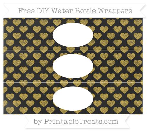 Free Metallic Gold Heart Pattern Chalk Style DIY Water Bottle Wrappers