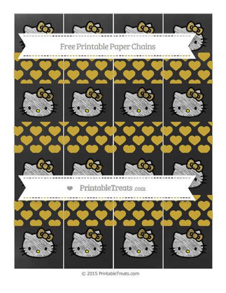 Free Metallic Gold Heart Pattern Chalk Style Hello Kitty Paper Chains