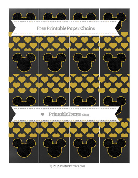 Free Metallic Gold Heart Pattern Chalk Style Mickey Mouse Paper Chains