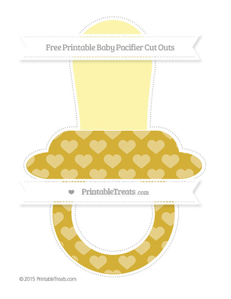 Free Metallic Gold Heart Pattern Extra Large Baby Pacifier Cut Outs