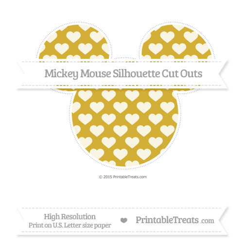 Free Metallic Gold Heart Pattern Extra Large Mickey Mouse Silhouette Cut Outs