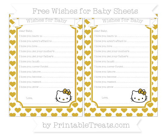 Free Metallic Gold Heart Pattern Hello Kitty Wishes for Baby Sheets