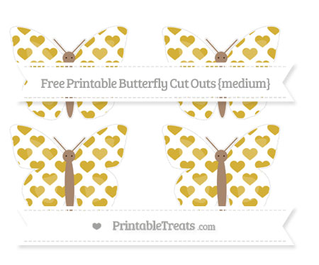 Free Metallic Gold Heart Pattern Medium Butterfly Cut Outs