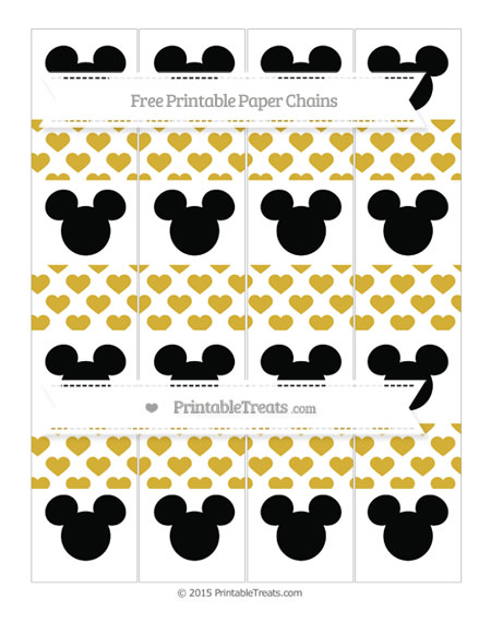 Free Metallic Gold Heart Pattern Mickey Mouse Paper Chains