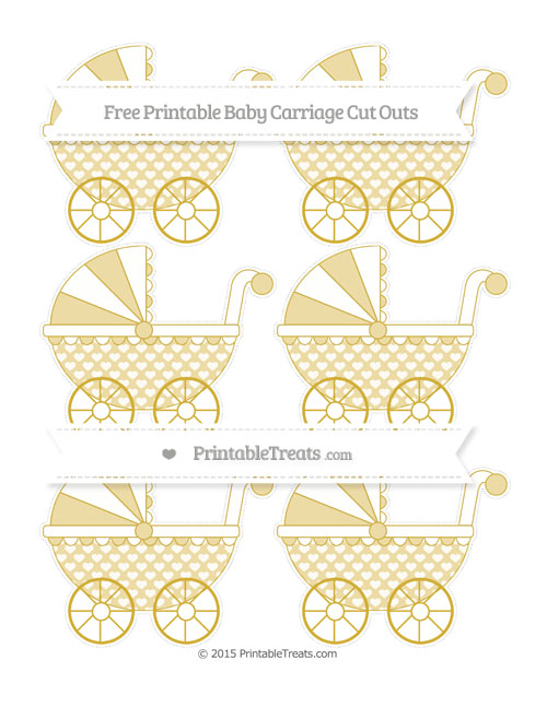 Free Metallic Gold Heart Pattern Small Baby Carriage Cut Outs