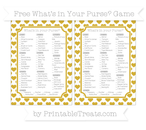 Free Metallic Gold Heart Pattern What's in Your Purse Baby Shower Game