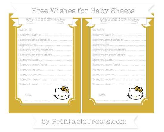 Free Metallic Gold Hello Kitty Wishes for Baby Sheets