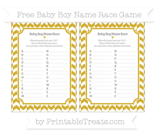 Free Metallic Gold Herringbone Pattern Baby Boy Name Race Game