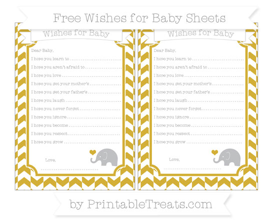 Free Metallic Gold Herringbone Pattern Baby Elephant Wishes for Baby Sheets