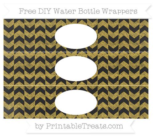 Free Metallic Gold Herringbone Pattern Chalk Style DIY Water Bottle Wrappers