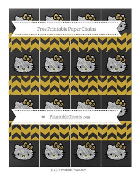 Free Metallic Gold Herringbone Pattern Chalk Style Hello Kitty Paper Chains