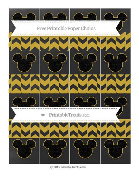 Free Metallic Gold Herringbone Pattern Chalk Style Mickey Mouse Paper Chains