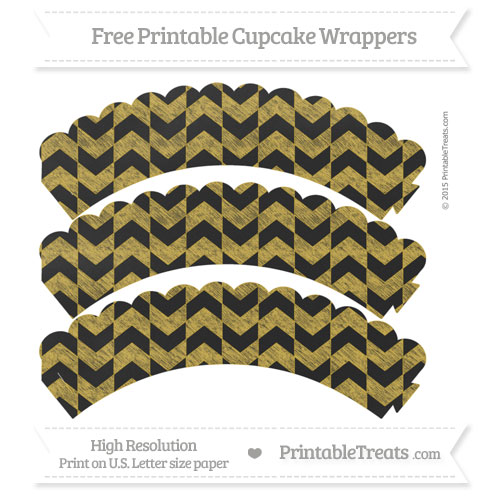 Free Metallic Gold Herringbone Pattern Chalk Style Scalloped Cupcake Wrappers