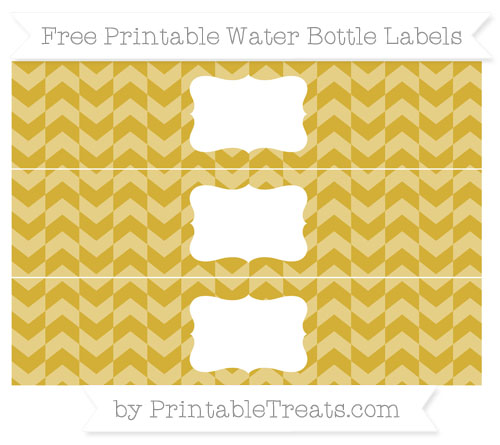 Free Metallic Gold Herringbone Pattern Water Bottle Labels