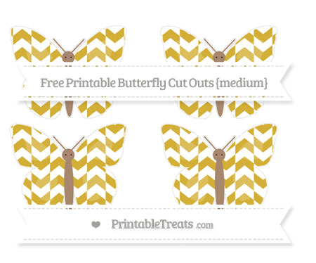 Free Metallic Gold Herringbone Pattern Medium Butterfly Cut Outs